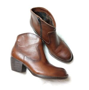 Born Brown Leather Ankle Booties